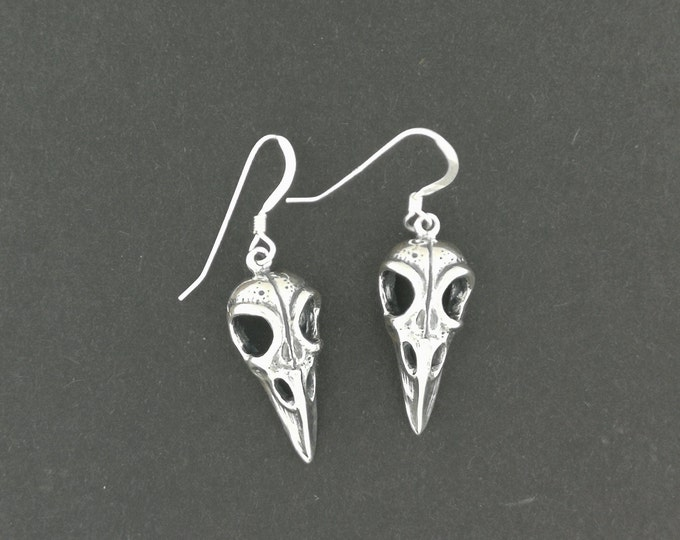 Raven Skull Earrings in Sterling Silver or Antique Bronze