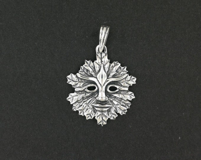 Green Man Pendant in Sterling Silver With Open Eyes
