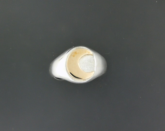 Two Tone Moon Signet Ring in Sterling Silver with Bronze Moon