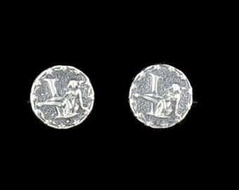 Sterling Silver Zodiac Stud Earrings Virgo