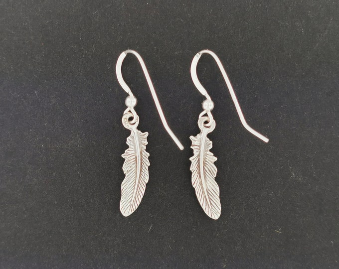 Feather Charm Earrings in Sterling Silver or Antique Bronze