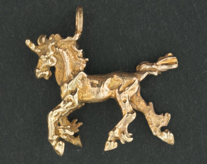 3D Unicorn Pendant in Antique Bronze