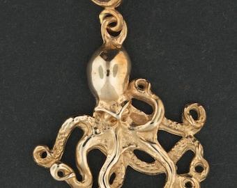 Octopus Pendant in Antique Bronze