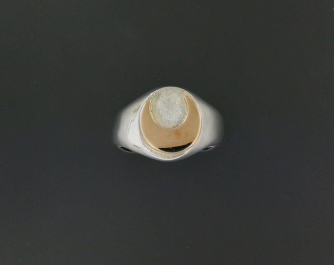 Two Tone Moon Signet Ring in Sterling Silver with Bronze Crescent Moon