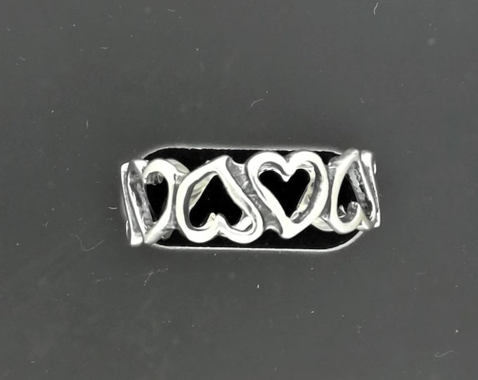 Linked Hearts Band in Sterling Silver or Antique Bronze