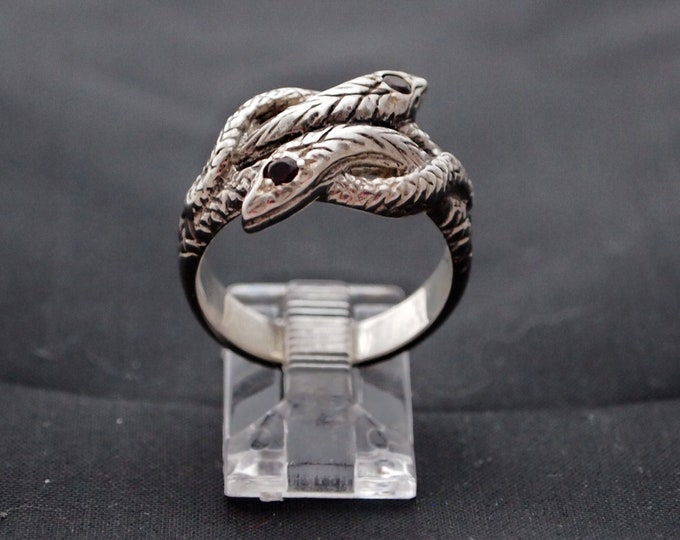 Coiled  Twin Snake Ring with Gemstones