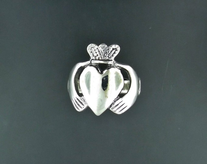 Mens Large Sterling Silver Claddagh Ring