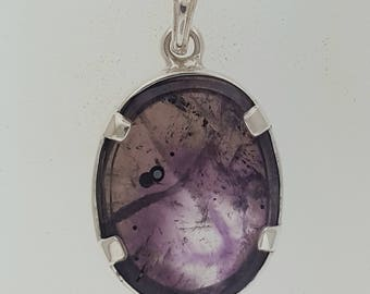 Bezel Pendant in Sterling Silver with Amethyst