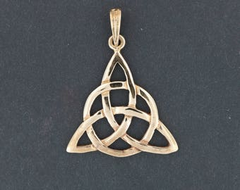 Large Antique Bronze Triquetra Pendant