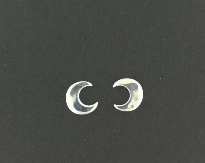 Handmade Crescent Moon Stud Earrings in Sterling Silver