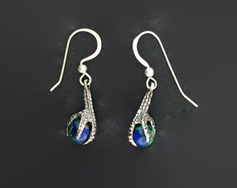 Claw dangle earrings with gemstone bead