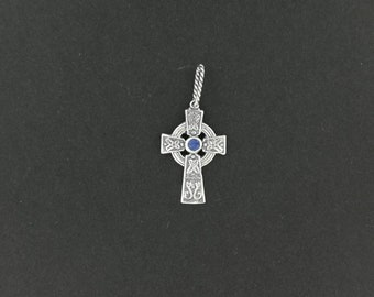 Small Celtic Cross with Stone in Sterling Silver