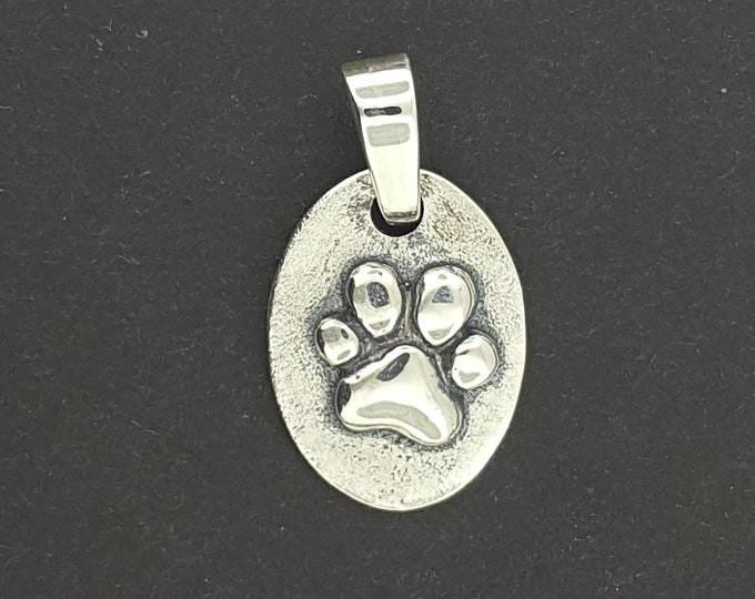 Paw Print Pendant in Sterling Silver