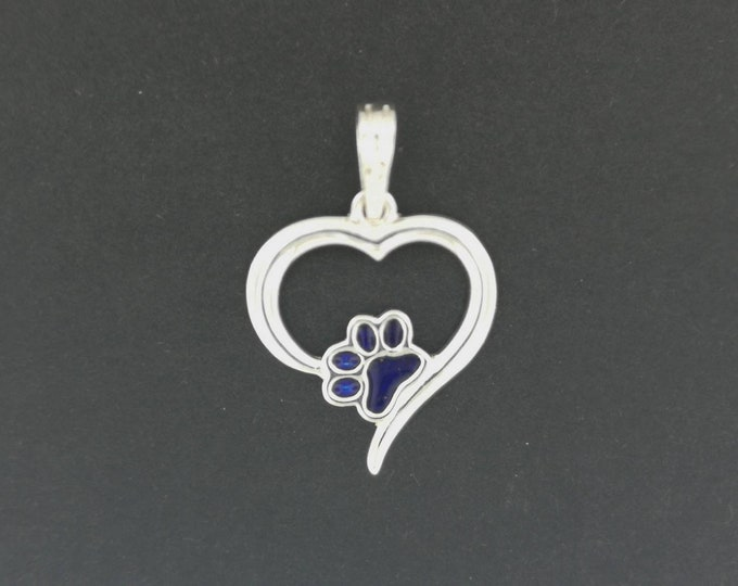 Heart and Paw Print Pendant in Sterling Silver