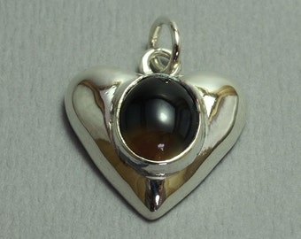 Sterling Silver Heart Pendant With Stone Center