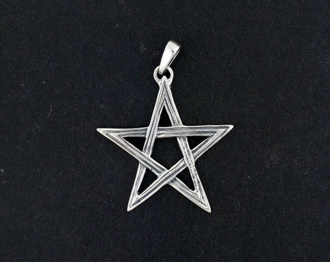 Lined Pentagram Pendant in Sterling Silver or Antique Bronze