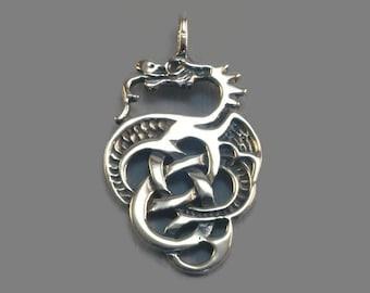 Celtic Knotwork Dragon Pendant in Sterling Silver