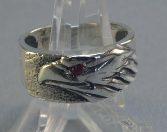 Eagle Head Ring With Gemstone Eye in Sterling Silver