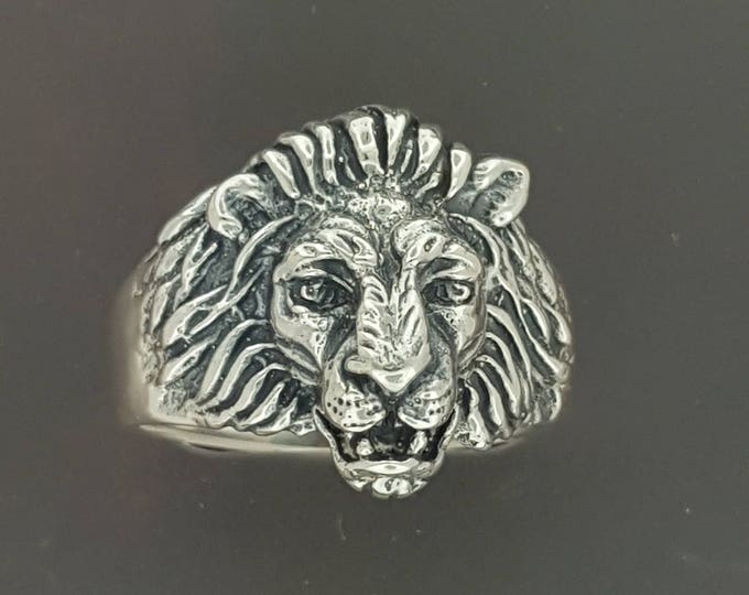 Custom Lion Ring with Garnet Eyes