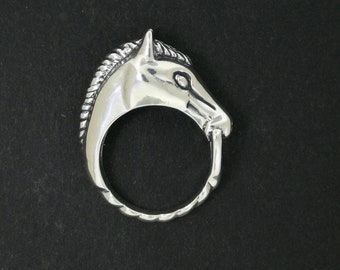 3D Horse Head Ring Sterling Silver