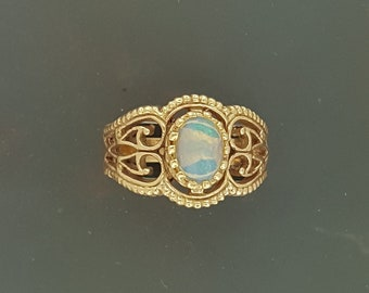 Vintage Style Filigree Ring with Ethiopian Opal in Antique Bronze