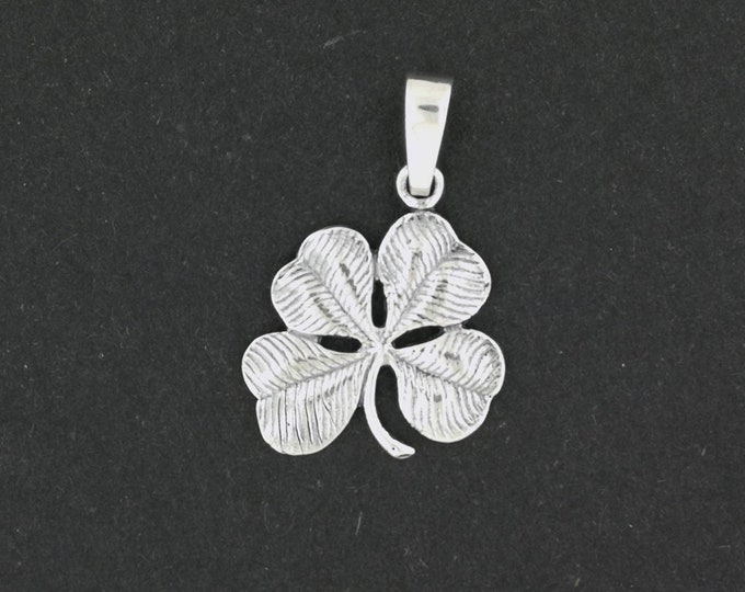 Large Four-Leaf Clover Pendant in Sterling Silver