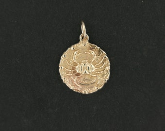Zodiac Medallion Cancer in Antique Bronze