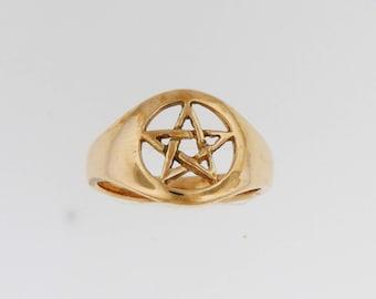 Pentacle Ring in Antique Bronze