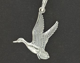 Flying Duck Pendant in Sterling Silver