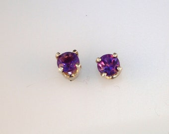 4mm Amethyst Sterling Silver Stud Earrings