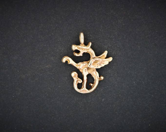Dragon Charm in Antique Bronze