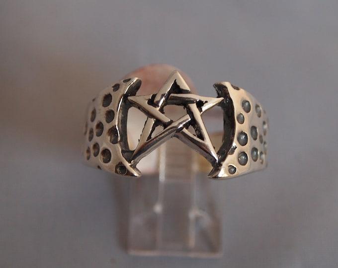 Sterling Silver Mens Pentagram Ring