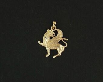 Griffin Pendant in Antique Bronze