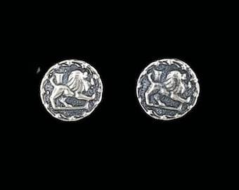 Sterling Silver Zodiac Stud Earrings Leo