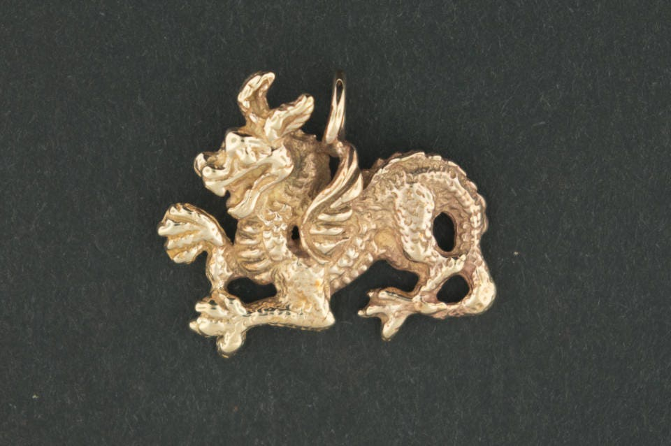 Handmade medieval dragon pendant in gold made to order aloadofball Gallery