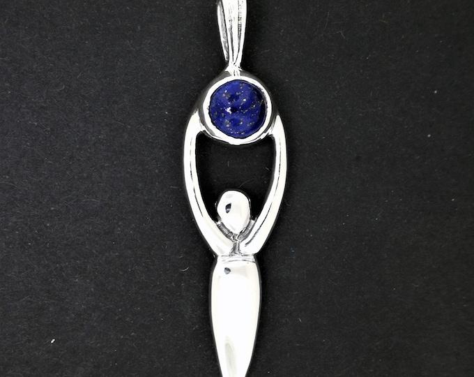 Sterling Silver Lunar Goddess Pendant with Gemstone Moon