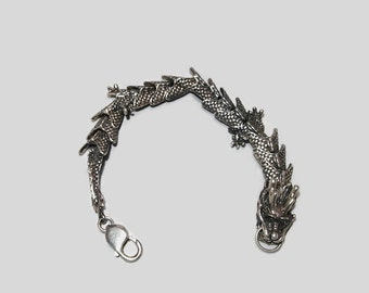 Large Chinese Dragon Bracelet in Sterling Silver made to order