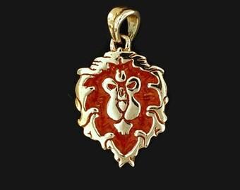 WoW Alliance Lion Pendant in Antique Bronze