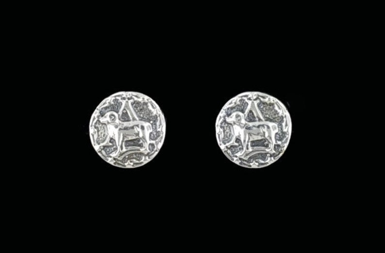 Gold Zodiac Stud Earrings Aries Made to Order