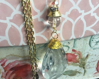 Charming vintage chandelier crystal repurposed with brilliant gold wire wrapping, crystal beads and rhinestone pendant necklace