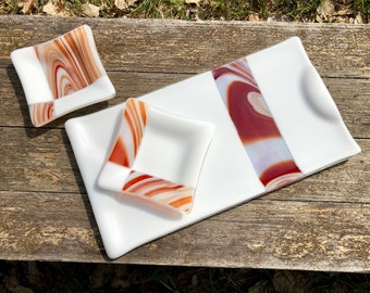 Rich Caramel Swirl on Elegant White Platter Dish Set Fused Glass Sushi Housewarming Serving Tray