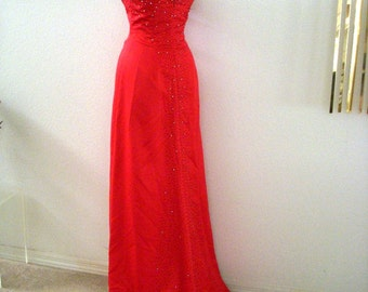 85e402292e9a Vintage Cherry RED Evening Gown with Train - 90s Strapless Red Satin Prom  Dress w Rhinestones - Mermaid Wiggle Cocktail Party Dress - Medium