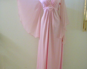 bb9f0f6b98f9 Vintage 70s Pale Pink Boho Chic Maxi Dress with Angel Sleeves - 1970 Mauve  Dress Chiffon Angel Sleeves - Hippie Maxi Dress - Small to Medium