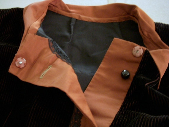 Vintage Art Deco Tunic Jacket in Brown Corduroy a… - image 5