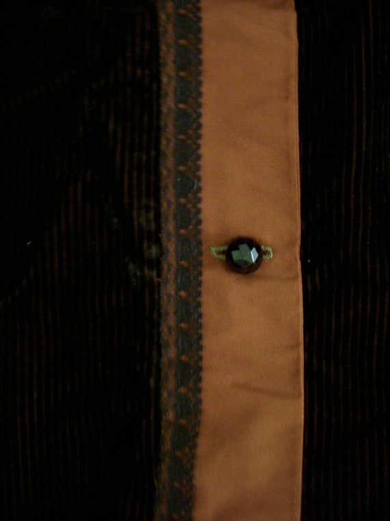 Vintage Art Deco Tunic Jacket in Brown Corduroy a… - image 7
