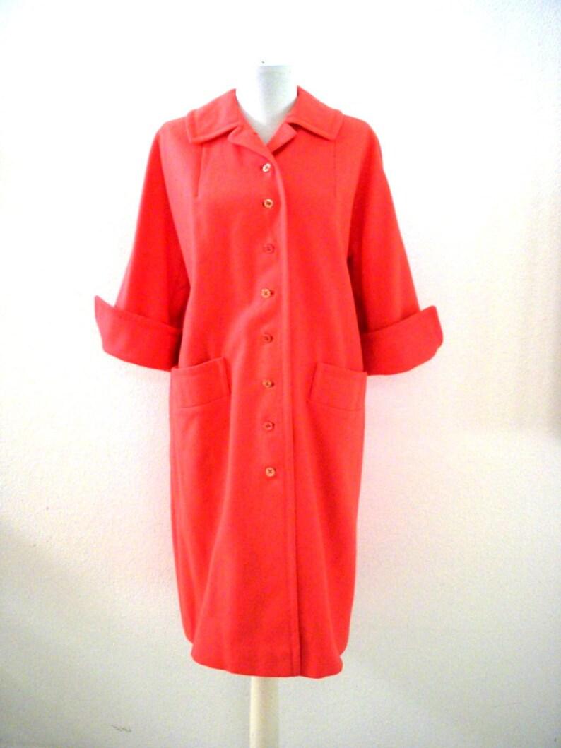 Rockabilly Coat Milli-Spun by Dumas Coat 34 Sleeve 60s Coat Vintage 1960s Coral Coat Size Medium