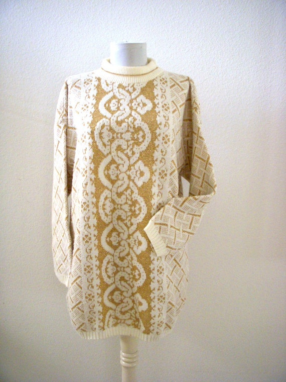 Vintage 80s White with Gold Lurex Tunic Sweater Dress  4cb7c9c1a
