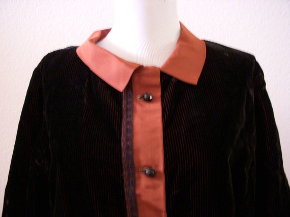 Vintage Art Deco Tunic Jacket in Brown Corduroy a… - image 4