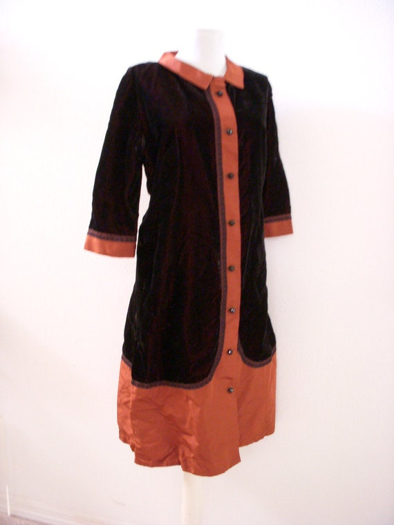 Vintage Art Deco Tunic Jacket in Brown Corduroy an