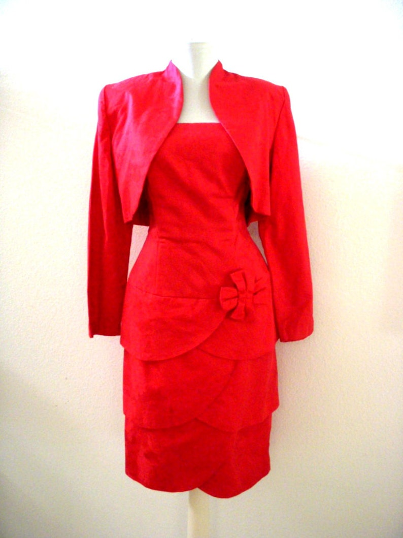 d52be2f1ea Vintage Cherry Red Cocktail Party Dress with Bolero Jacket